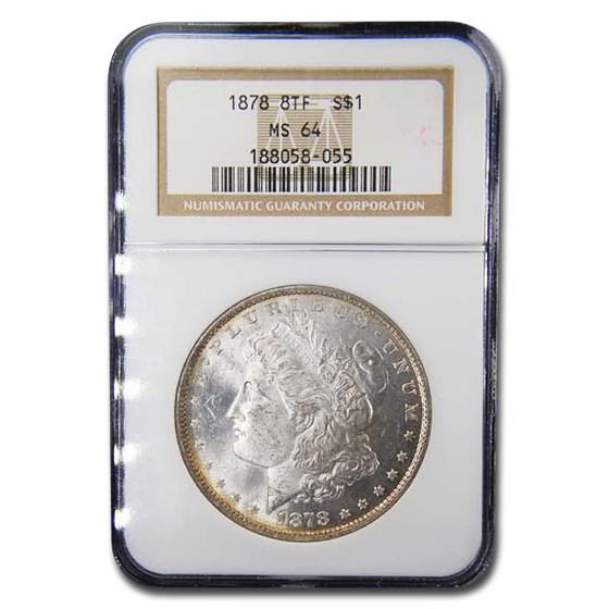 1878 Morgan Dollar 8 TF MS-64 NGC