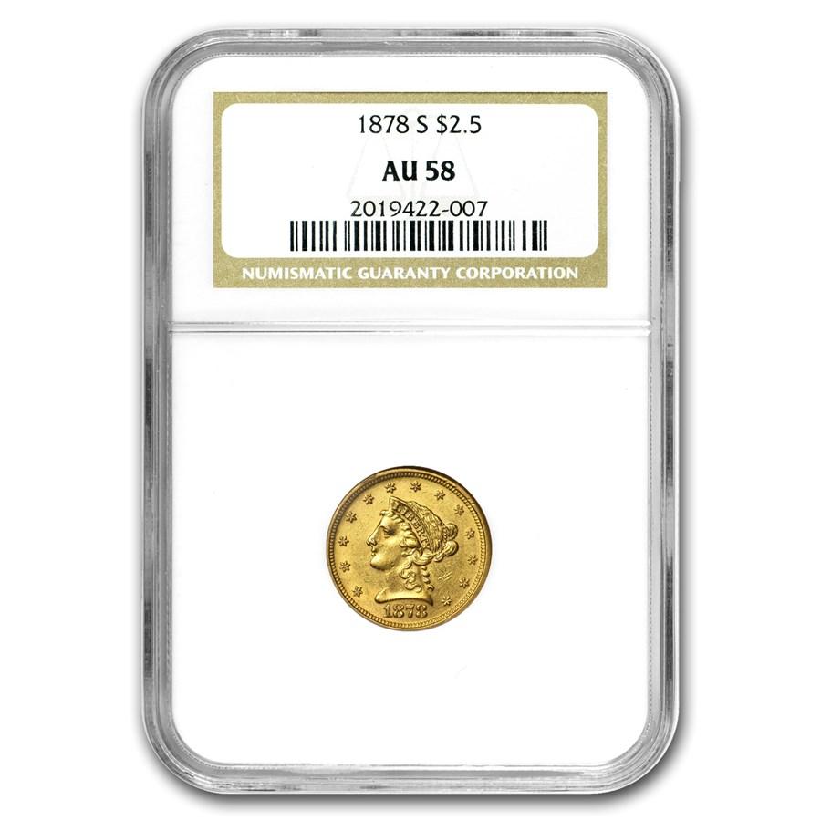 1878-S $2.50 Liberty Gold Quarter Eagle AU-58 NGC