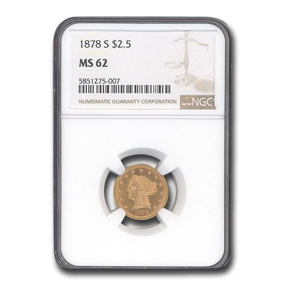 1878-S $2.50 Liberty Gold Quarter Eagle MS-62 NGC