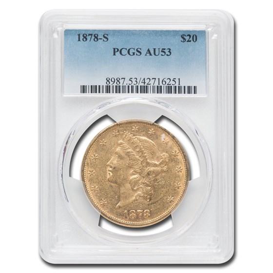 1878-S $20 Liberty Gold Double Eagle AU-53 PCGS