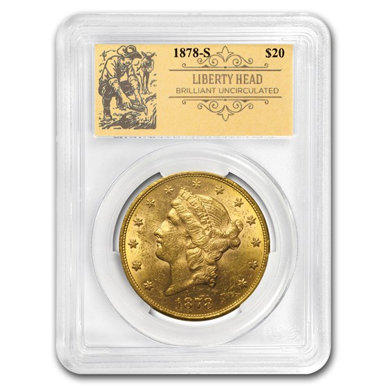 1878-S $20 Liberty Gold Double Eagle BU PCGS (Prospector Label)