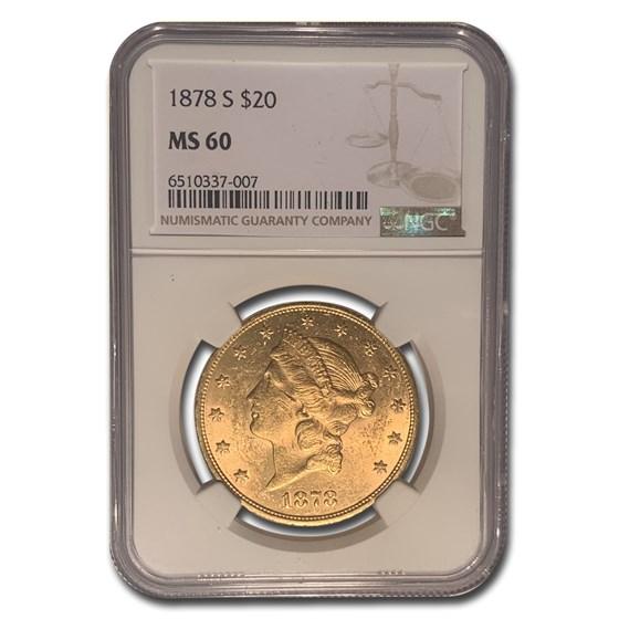 1878-S $20 Liberty Gold Double Eagle MS-60 NGC