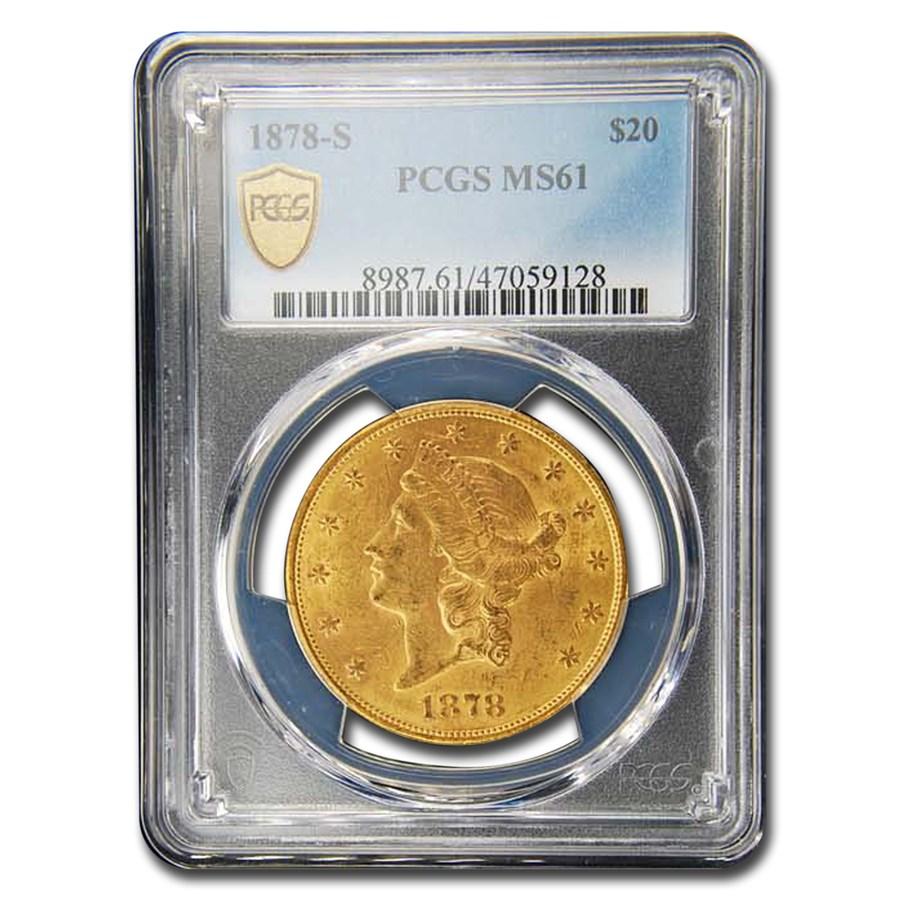 1878-S $20 Liberty Gold Double Eagle MS-61 PCGS