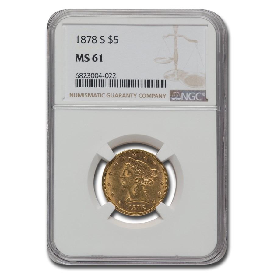 1878-S $5 Liberty Gold Half Eagle MS-61 NGC