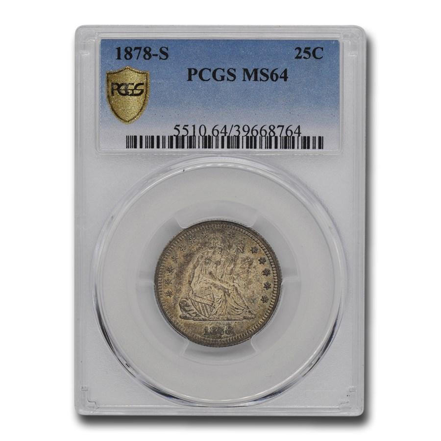 1878-S Liberty Seated Quarter MS-64 PCGS