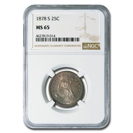 1878-S Liberty Seated Quarter MS-65 NGC