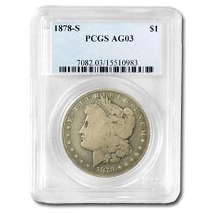 1878-S Morgan Dollar AG-3 PCGS (VAM-27, Long Nock, Top-100)