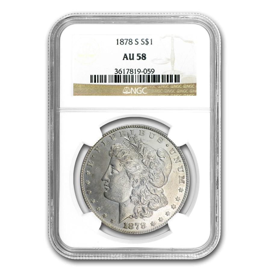 1878-S Morgan Dollar AU-58 NGC (VAM-18, Spaghetti Wings)