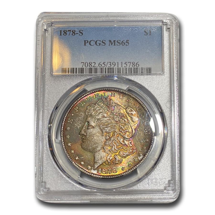1878-S Morgan Dollar MS-65 PCGS (Blue & Purple Toning)