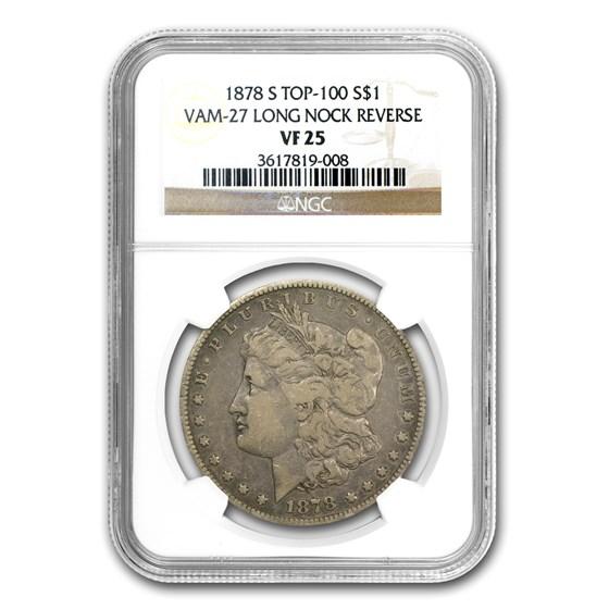 1878-S Morgan Dollar VF-25 NGC (VAM-27, Long Nock, Top-100)