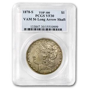 1878-S Morgan Dollar VF-30 PCGS (VAM-56, Long Nock Rev, Top-100)