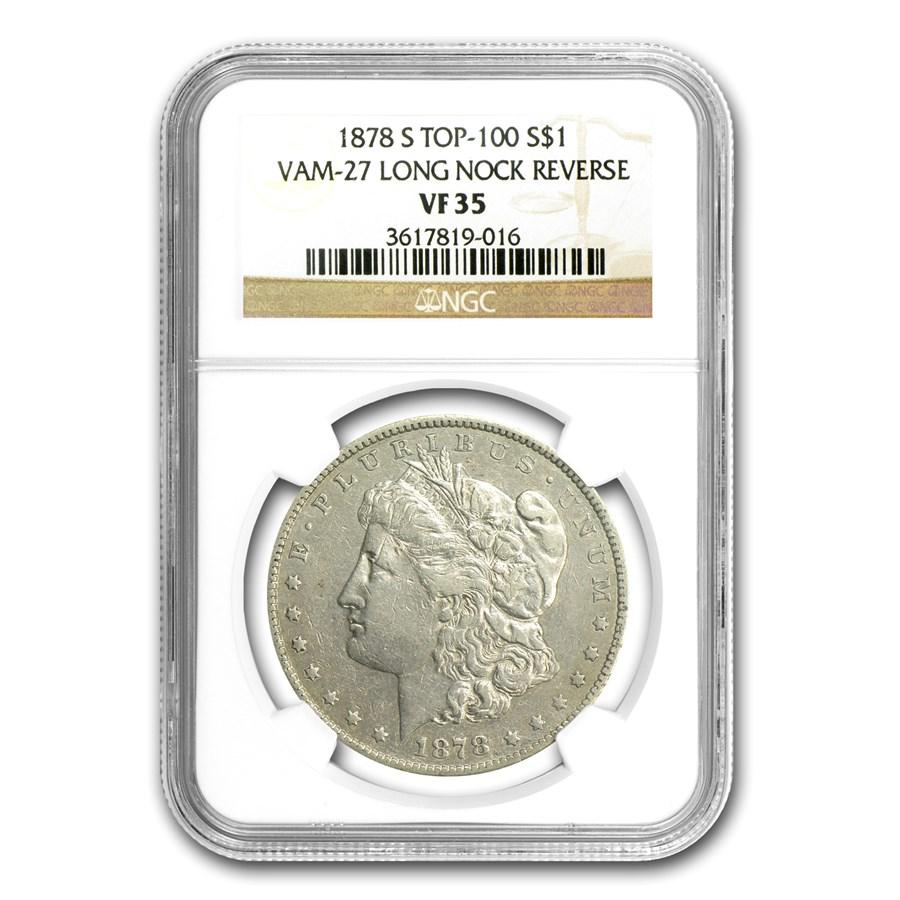 1878-S Morgan Dollar VF-35 NGC (VAM-27, Long Nock, Top-100)