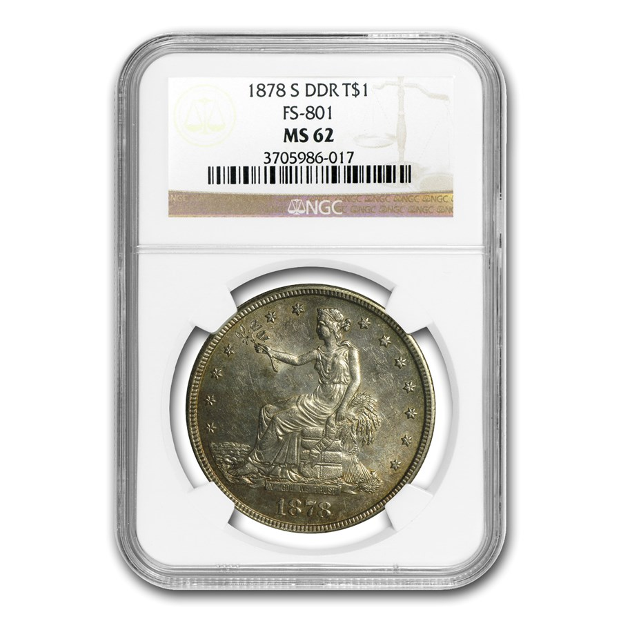 1878-S Trade Dollar MS-62 NGC (FS-801, Doubled Die Reverse)