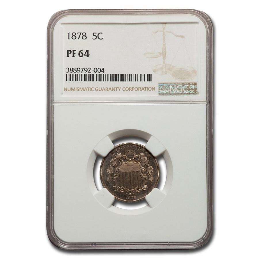 1878 Shield Nickel PF-64 NGC