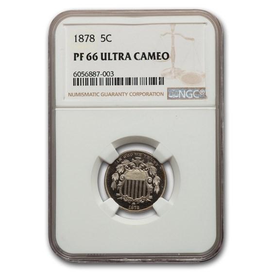 1878 Shield Nickel PF-66 UCAM NGC