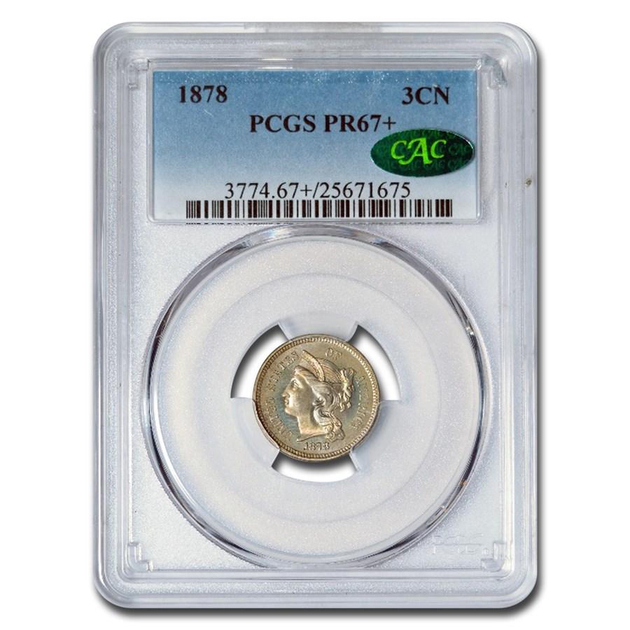 1878 Three Cent Nickel PR-67+ PCGS CAC
