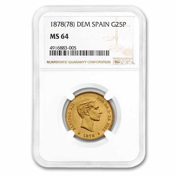 1878(78) Spain Gold 25 Pesetas Alfonso XII MS-64 NGC