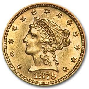 1879 $2.50 Liberty Gold Quarter Eagle AU Details (Scratches)