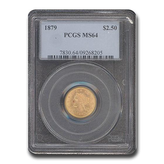 1879 $2.50 Liberty Gold Quarter Eagle MS-64 PCGS