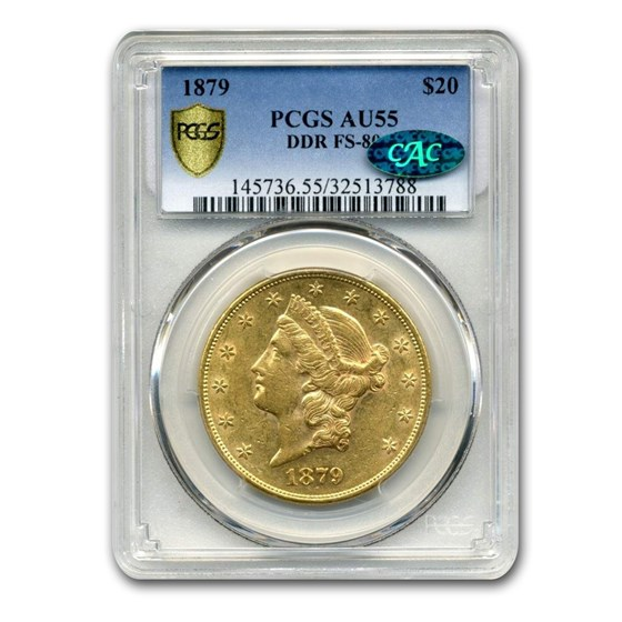 1879 $20 Liberty Gold Double Eagle AU-55 PCGS CAC (DDR, FS-801)