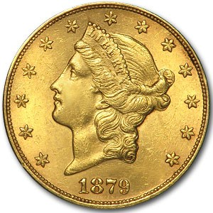 1879 $20 Liberty Gold Double Eagle MS-62 Details (Hairlines)