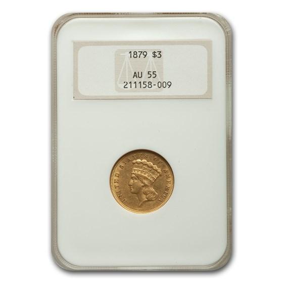 1879 $3 Gold Princess AU-55 NGC
