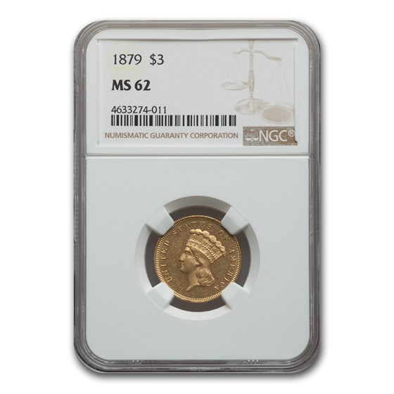 1879 $3 Gold Princess MS-62 NGC