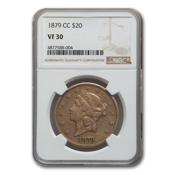 1879-CC $20 Liberty Gold Double Eagle VF-30 NGC