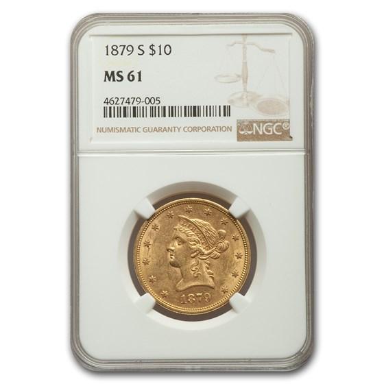 1879-S $10 Liberty Gold Eagle MS-61 NGC
