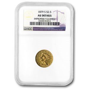 1879-S $2.50 Liberty Gold AU-58 Details NGC (Cleaned)