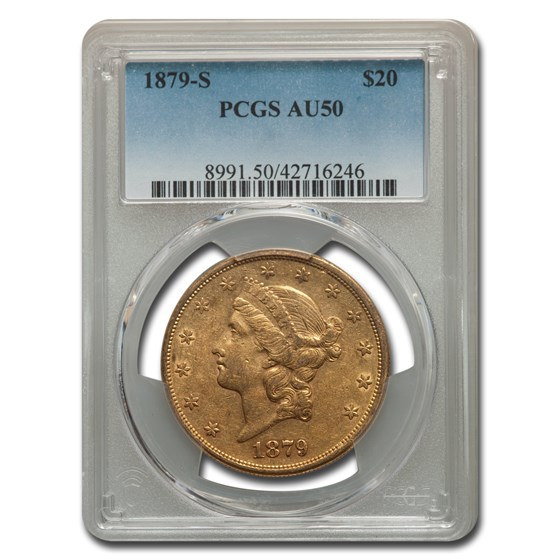 1879-S $20 Liberty Gold Double Eagle AU-50 PCGS