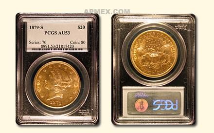 1879-S $20 Liberty Gold Double Eagle AU-53 PCGS