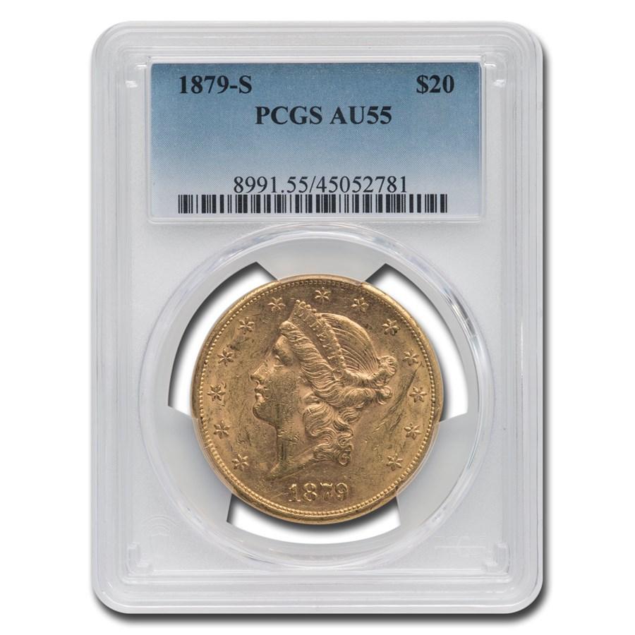 1879-S $20 Liberty Gold Double Eagle AU-55 PCGS
