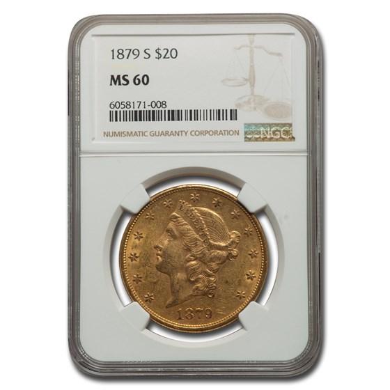 1879-S $20 Liberty Gold Double Eagle MS-60 NGC
