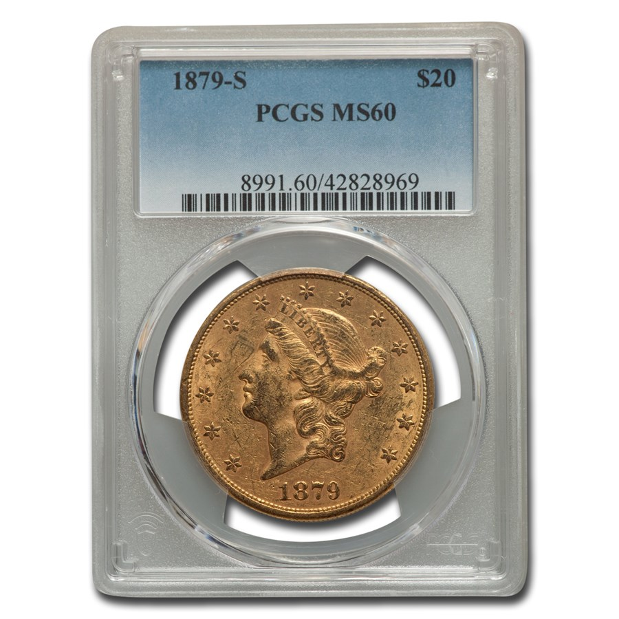 1879-S $20 Liberty Gold Double Eagle MS-60 PCGS