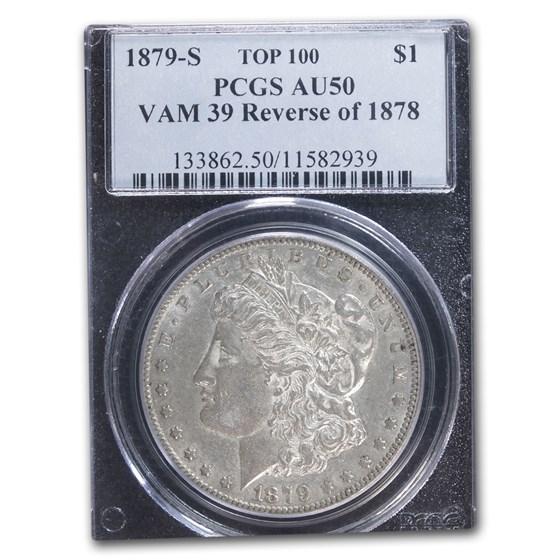 1879-S Morgan Dollar AU-50 PCGS (VAM 39, Reverse of 1878)