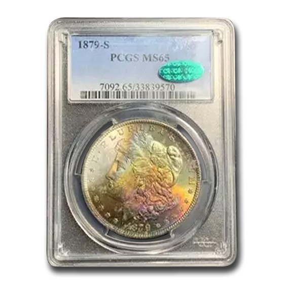 1879-S Morgan Dollar MS-65 PCGS (CAC, Green & Purple Toning)