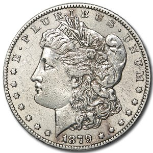 1879-S Morgan Dollar Rev of 78 AU Details (Cleaned)