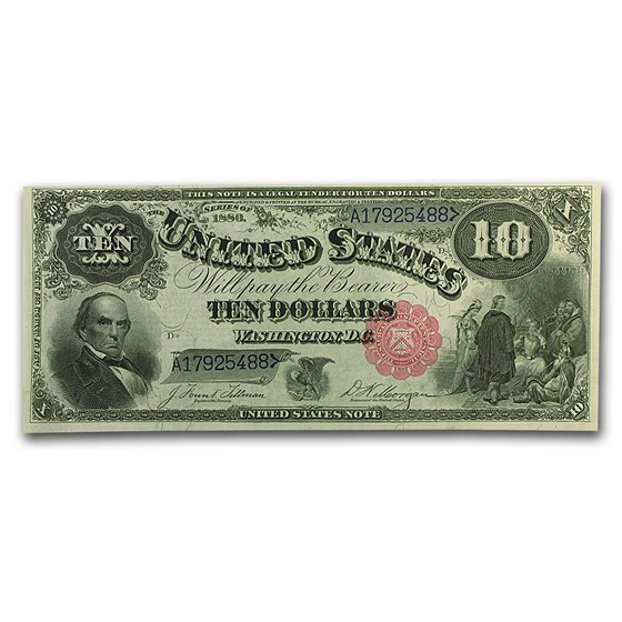 1880 $10 Legal Tender Head of Daniel Webster CU