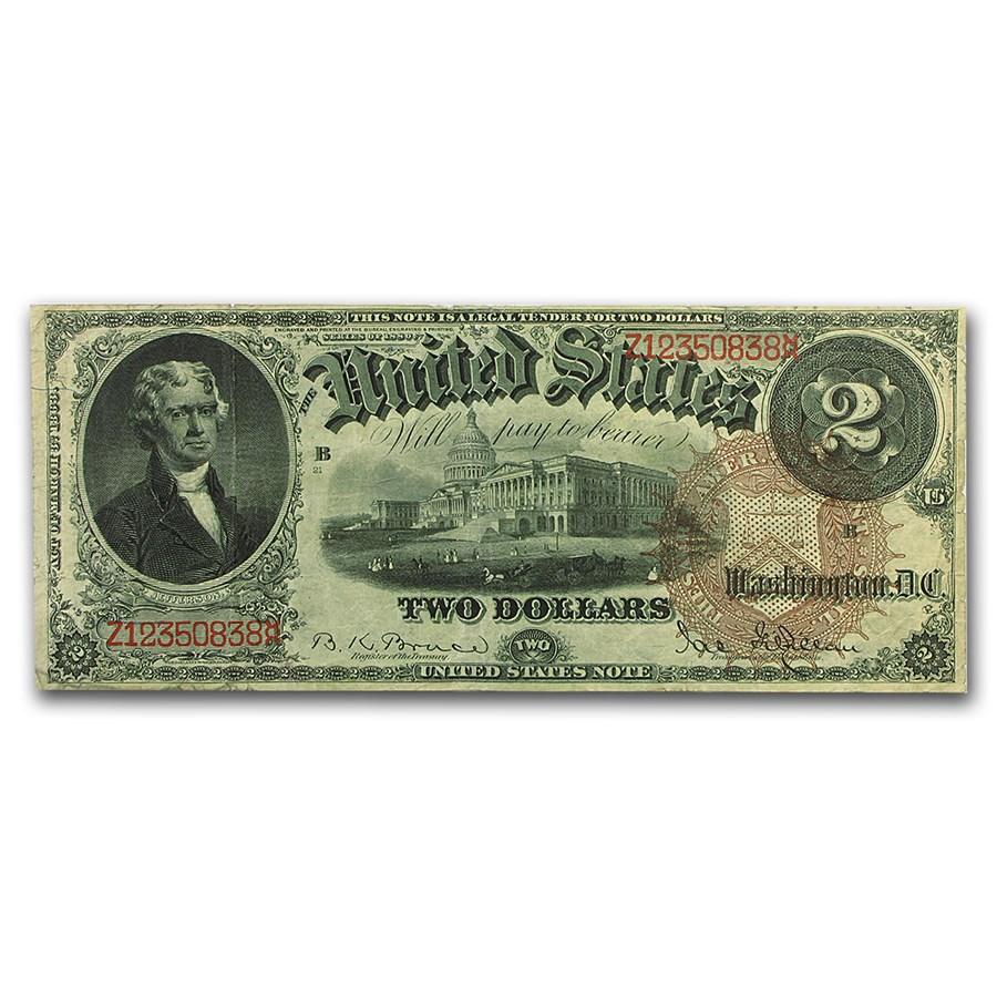 1880 $2.00 Legal Tender Jefferson VF