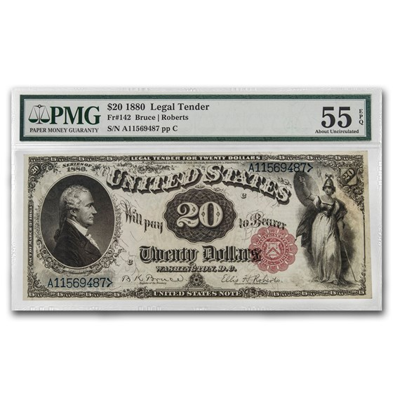 1880 $20 Legal Tender Alexander Hamilton AU-55 EPQ PMG