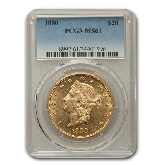 1880 $20 Liberty Gold Double Eagle MS-61 PCGS