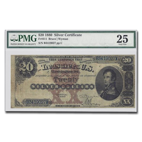 1880 $20 Silver Certificate Stephen Decatur VF-25 PMG