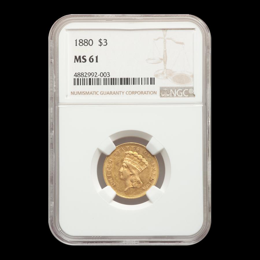 1880 $3 Gold Princess MS-61 NGC