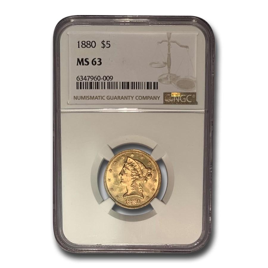 1880 $5 Liberty Gold Half Eagle MS-63 NGC