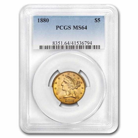 1880 $5 Liberty Gold Half Eagle MS-64 PCGS