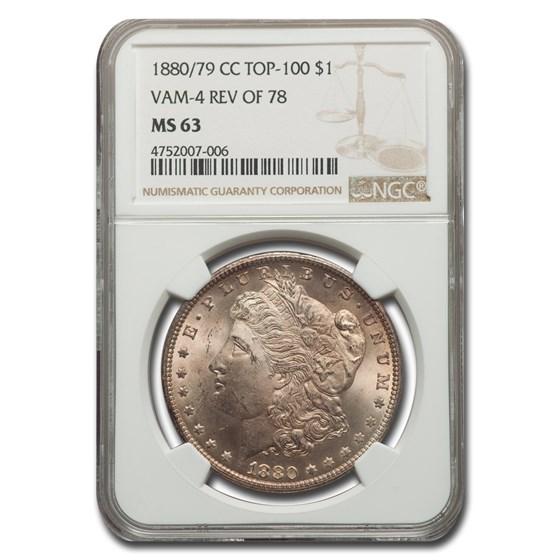1880/79-CC Morgan Dollar Rev of 78 MS-63 NGC (VAM-4 Top-100)