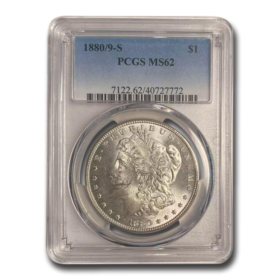 1880/79-S Morgan Dollar MS-62 PCGS (80/79 Overdate, Top-100)