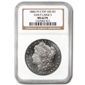 1880/79-S Morgan Dollar MS-62 PL NGC (VAM-9, Large S, Top-100)