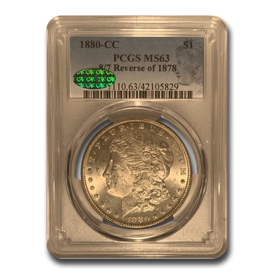 1880 8/7-CC Morgan Dollar MS-63 PCGS CAC (Reverse of 1878(